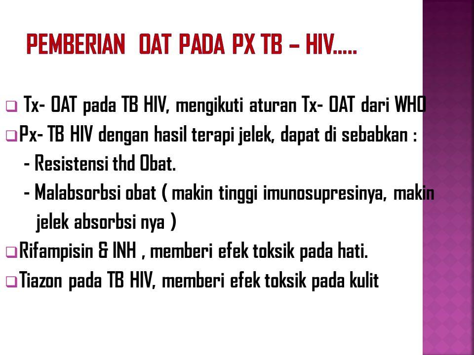 Pemberian OAT pada Px TB – HIV…..