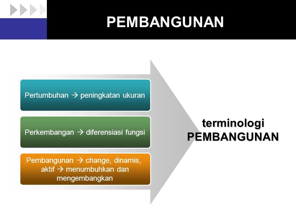 PEMBANGUNAN terminologi PEMBANGUNAN Pertumbuhan  peningkatan ukuran