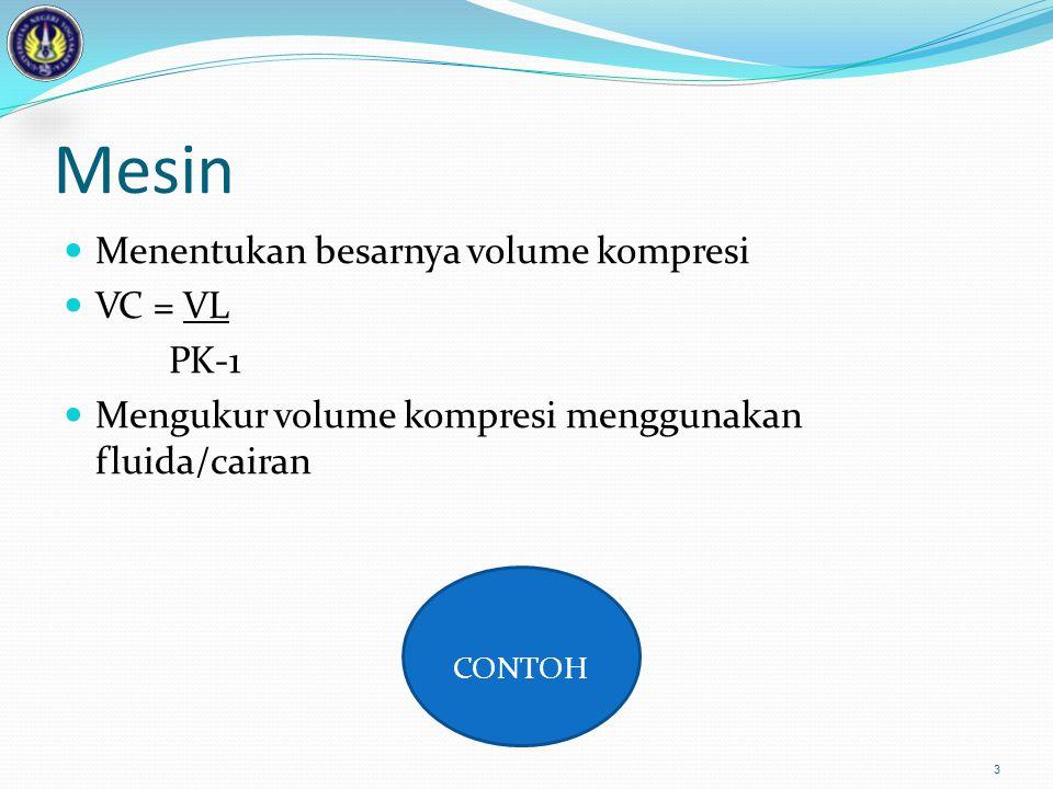 Mesin CONTOH Menentukan besarnya volume kompresi VC = VL PK-1
