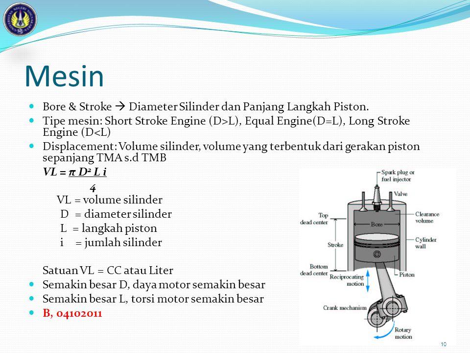 Mesin Bore & Stroke  Diameter Silinder dan Panjang Langkah Piston.