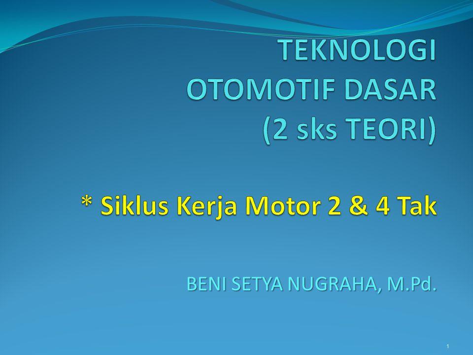 TEKNOLOGI OTOMOTIF DASAR (2 sks TEORI) * Siklus Kerja Motor 2 & 4 Tak