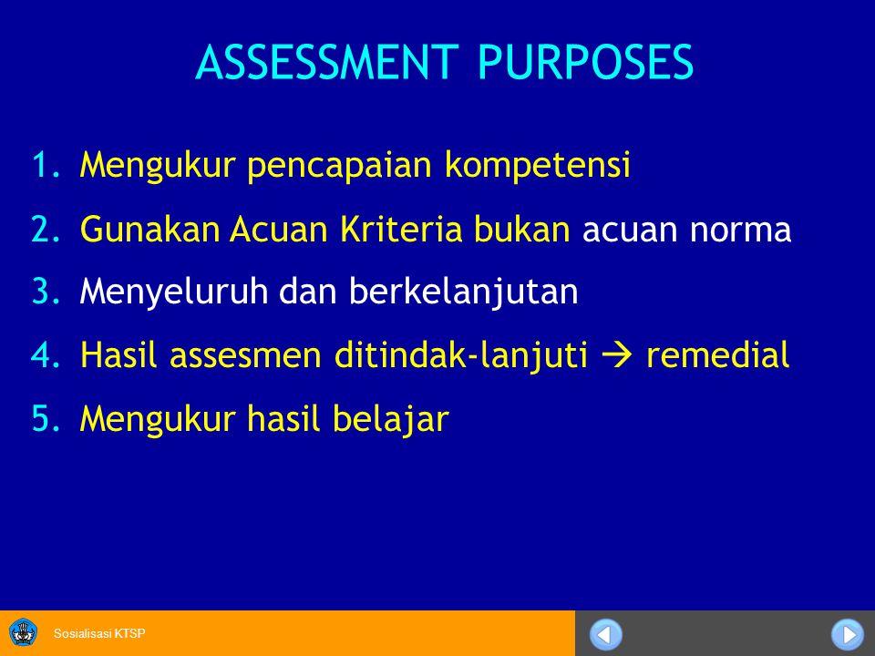 ASSESSMENT PURPOSES Mengukur pencapaian kompetensi
