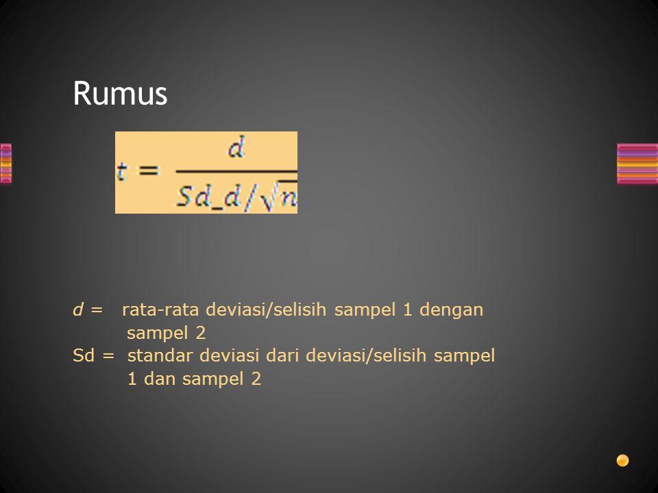 Rumus d = rata-rata deviasi/selisih sampel 1 dengan sampel 2