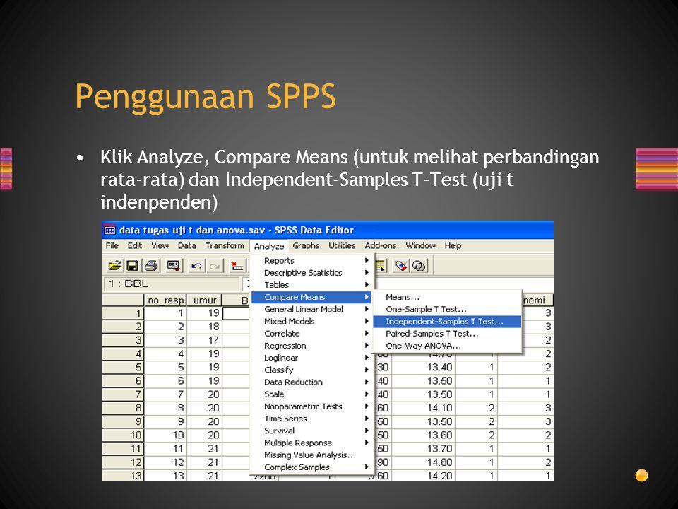 Penggunaan SPPS Klik Analyze, Compare Means (untuk melihat perbandingan rata-rata) dan Independent-Samples T-Test (uji t indenpenden)
