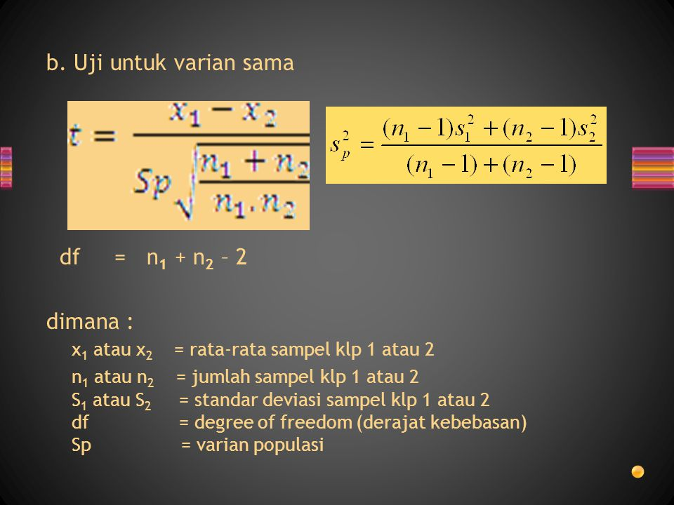 x1 atau x2 = rata-rata sampel klp 1 atau 2