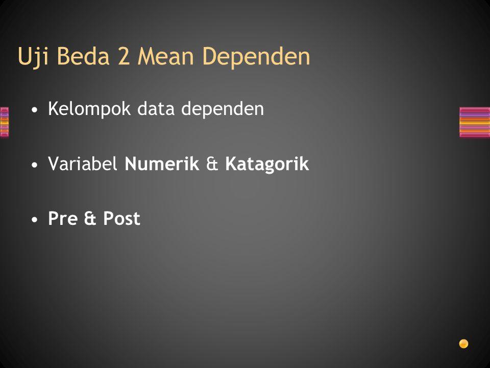 Uji Beda 2 Mean Dependen Kelompok data dependen