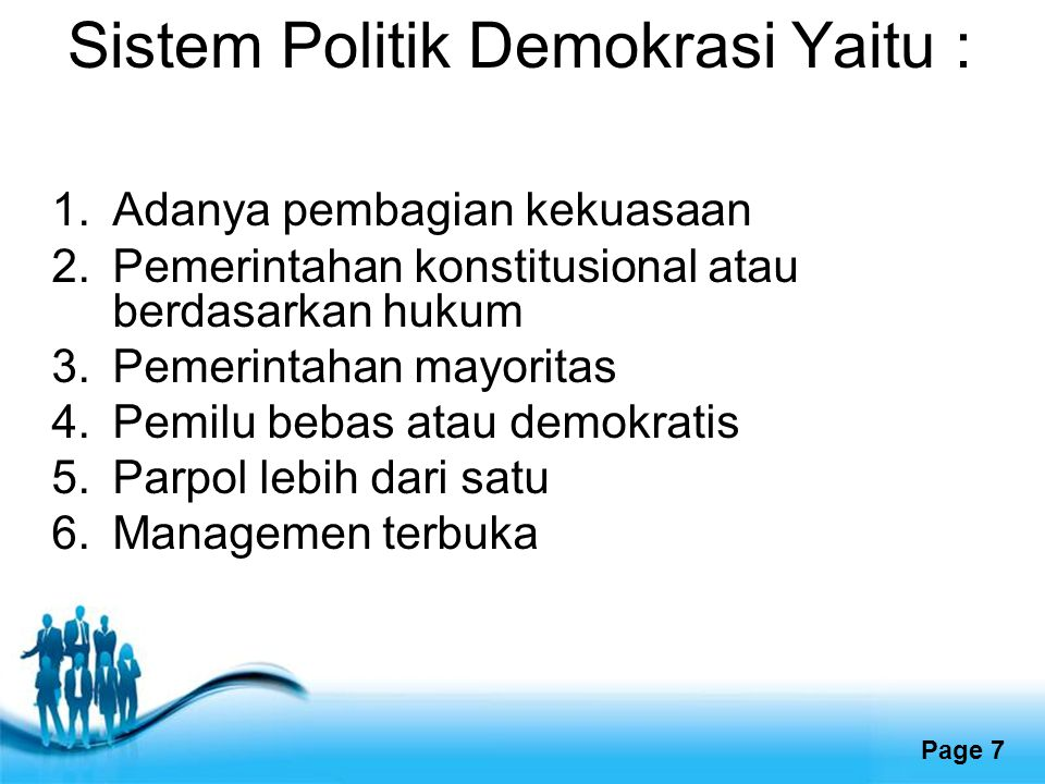 Sistem Politik Demokrasi Yaitu :
