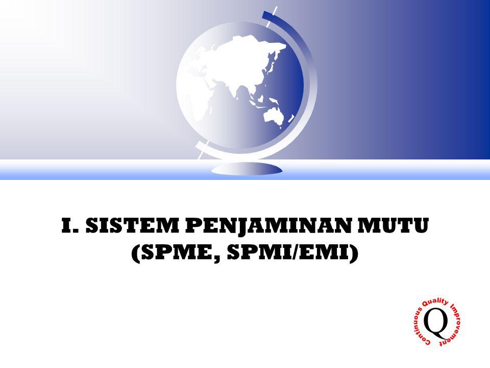 I. SISTEM PENJAMINAN MUTU (SPME, SPMI/EMI)