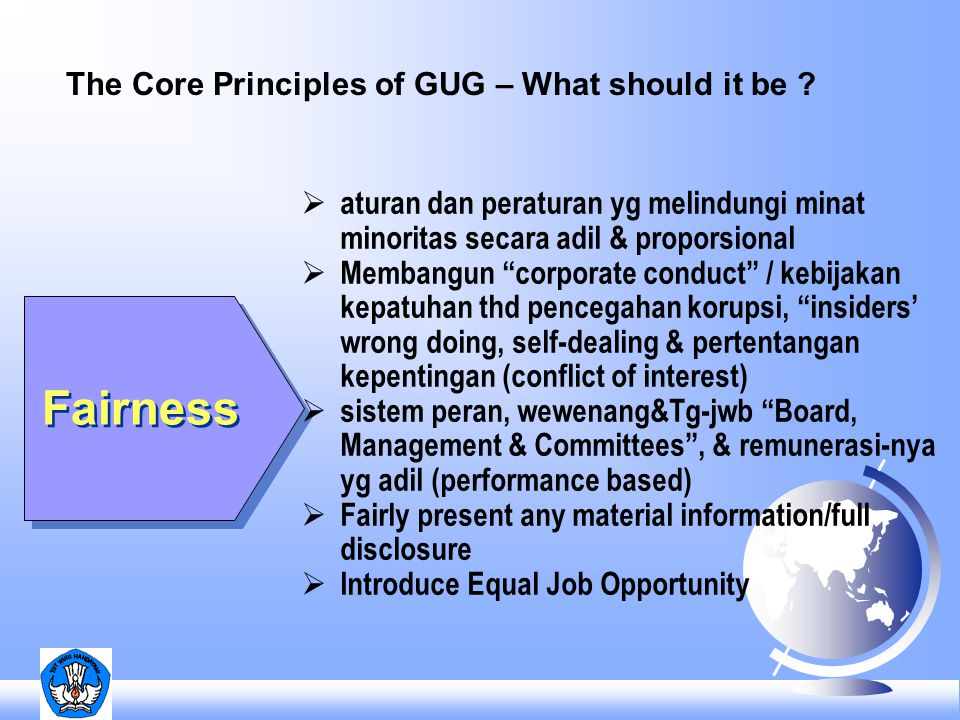 Fairness The Core Principles of GUG – What should it be