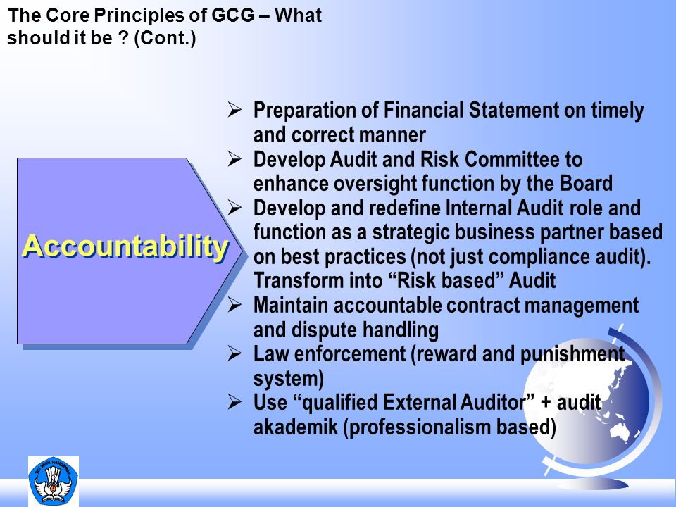 The Core Principles of GCG – What should it be (Cont.)