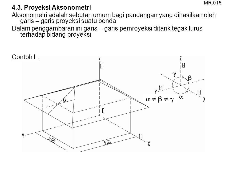 MR.016 4.3. Proyeksi Aksonometri. Aksonometri adalah sebutan umum bagi pandangan yang dihasilkan oleh garis – garis proyeksi suatu benda.