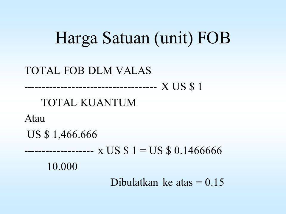 Harga Satuan (unit) FOB