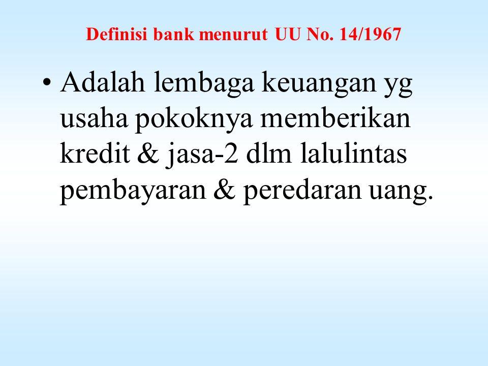 Definisi bank menurut UU No. 14/1967