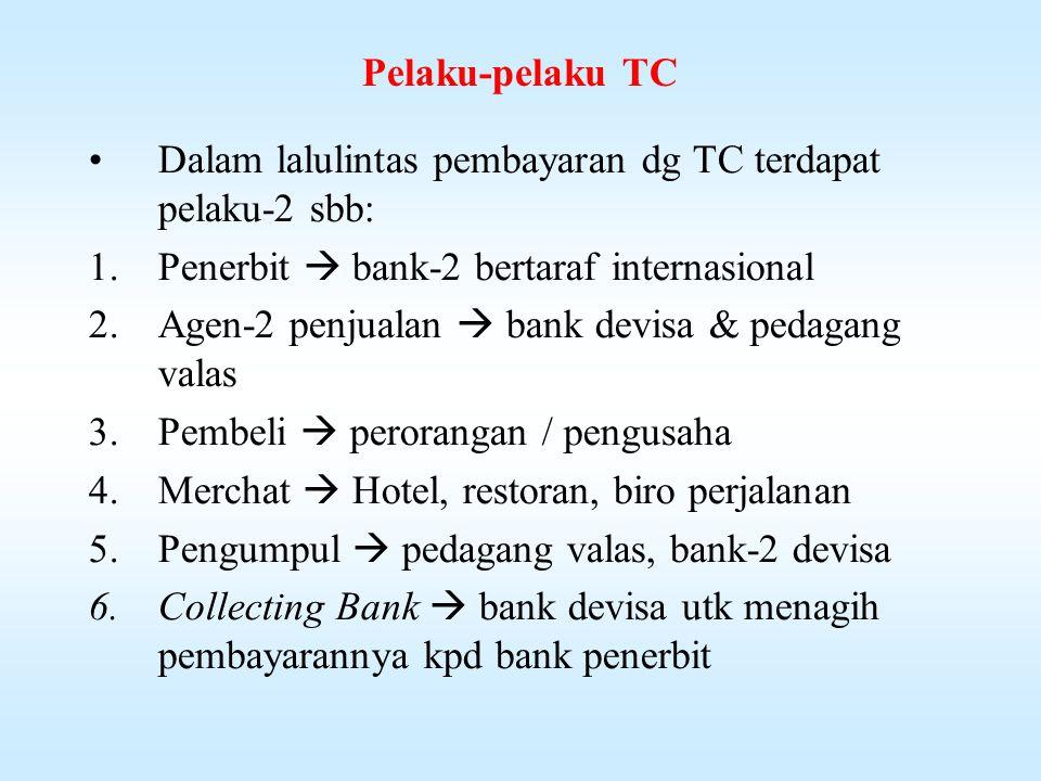 Pelaku-pelaku TC Dalam lalulintas pembayaran dg TC terdapat pelaku-2 sbb: Penerbit  bank-2 bertaraf internasional.