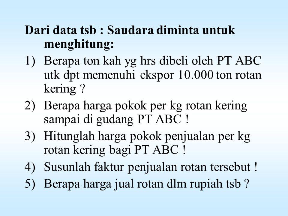 Dari data tsb : Saudara diminta untuk menghitung: