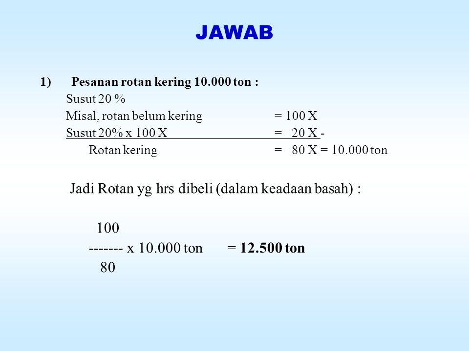 JAWAB Jadi Rotan yg hrs dibeli (dalam keadaan basah) : 100