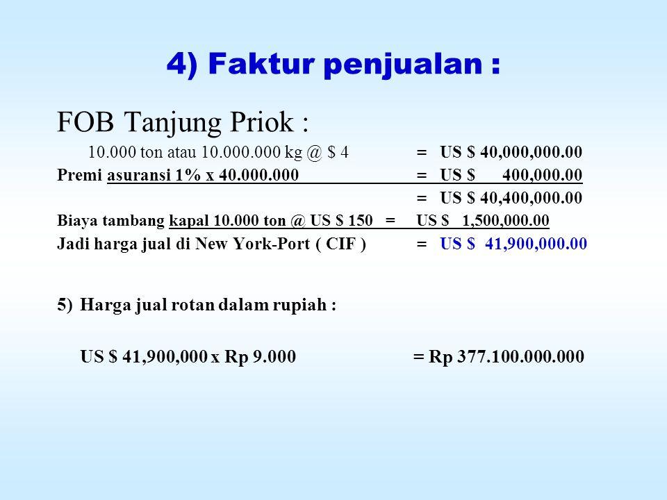 4) Faktur penjualan : FOB Tanjung Priok :