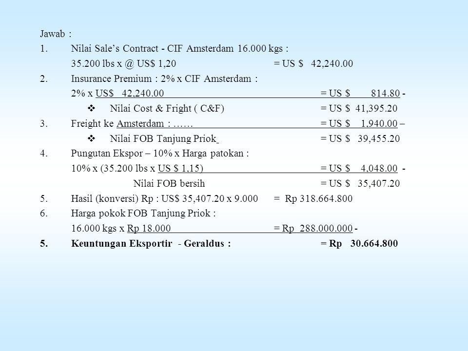 Jawab : Nilai Sale's Contract - CIF Amsterdam 16.000 kgs : 35.200 lbs x @ US$ 1,20 = US $ 42,240.00.