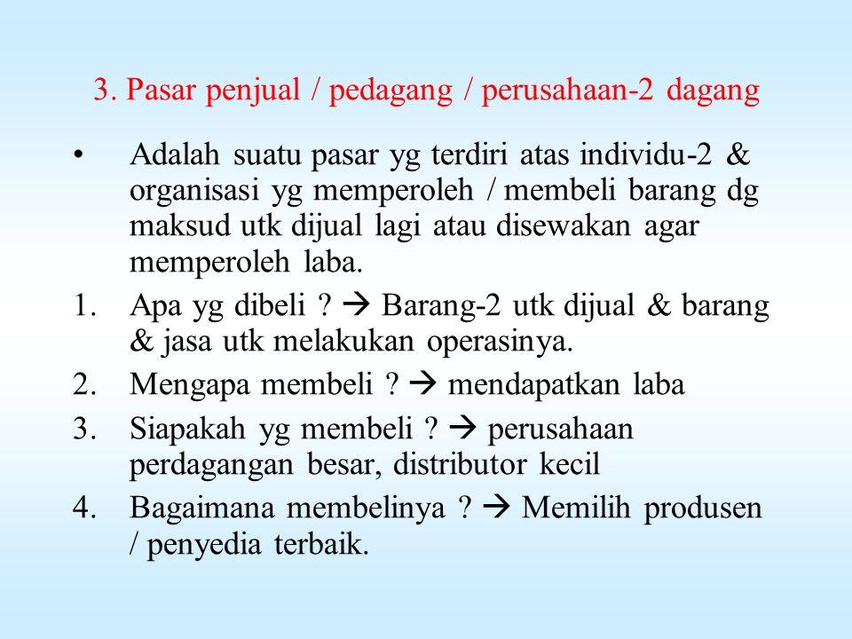 3. Pasar penjual / pedagang / perusahaan-2 dagang