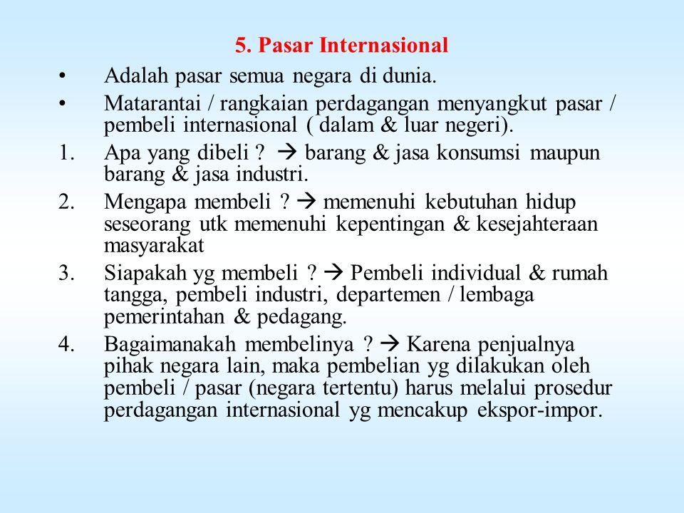 5. Pasar Internasional Adalah pasar semua negara di dunia.