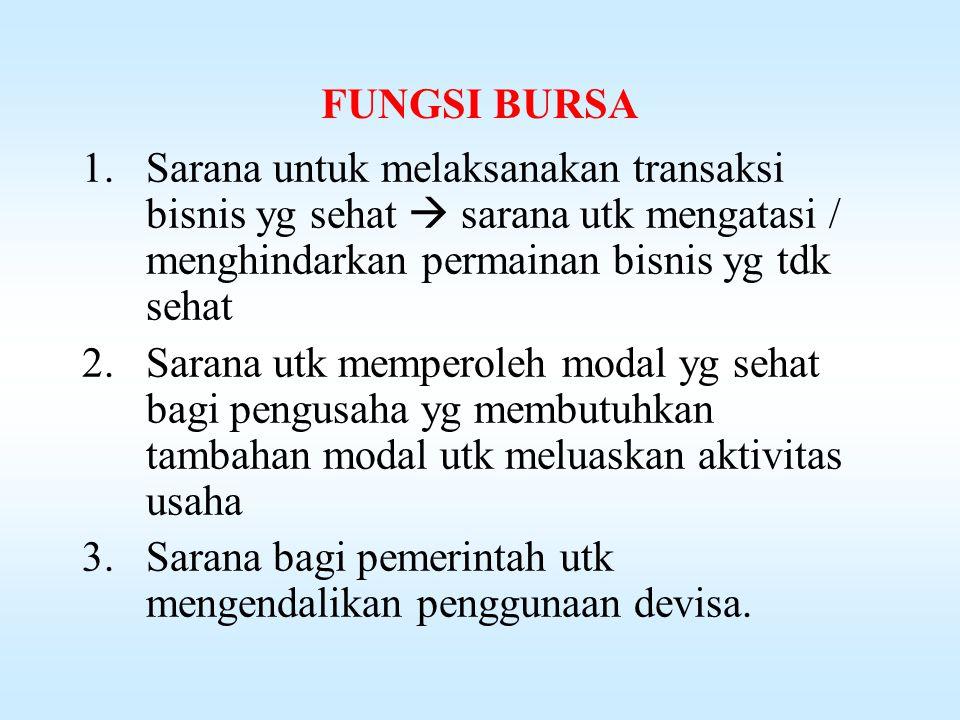 FUNGSI BURSA Sarana untuk melaksanakan transaksi bisnis yg sehat  sarana utk mengatasi / menghindarkan permainan bisnis yg tdk sehat.