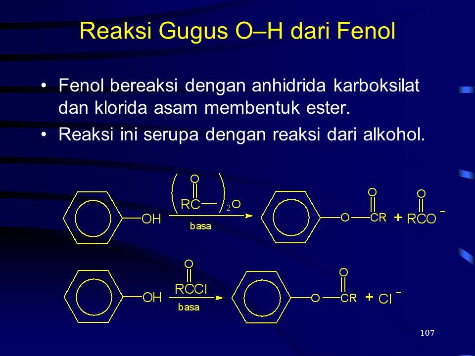 Reaksi Gugus O–H dari Fenol