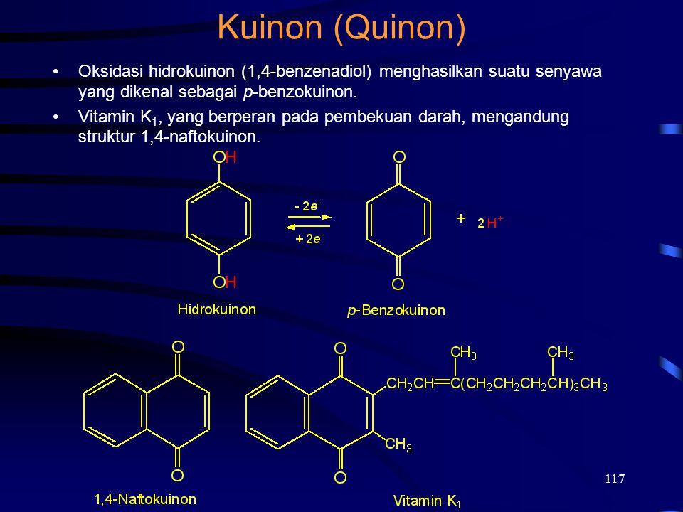 Kuinon (Quinon) 2017/4/6. Oksidasi hidrokuinon (1,4-benzenadiol) menghasilkan suatu senyawa yang dikenal sebagai p-benzokuinon.