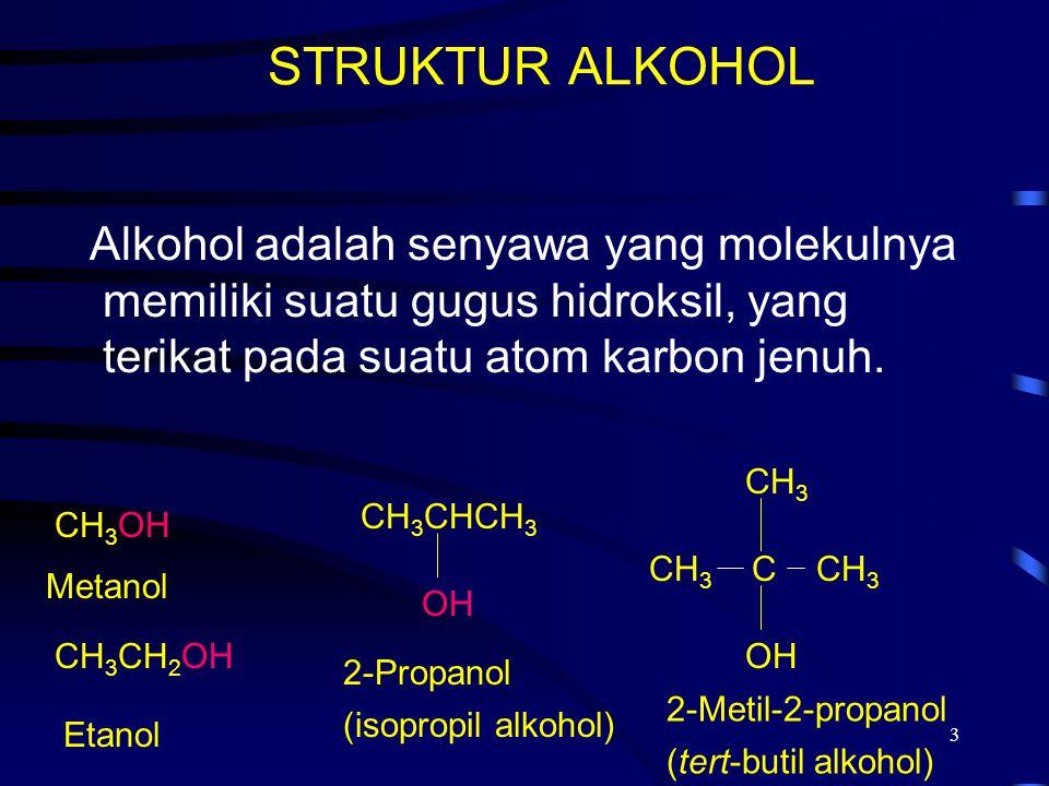 STRUKTUR ALKOHOL 2017/4/6. Alkohol adalah senyawa yang molekulnya memiliki suatu gugus hidroksil, yang terikat pada suatu atom karbon jenuh.
