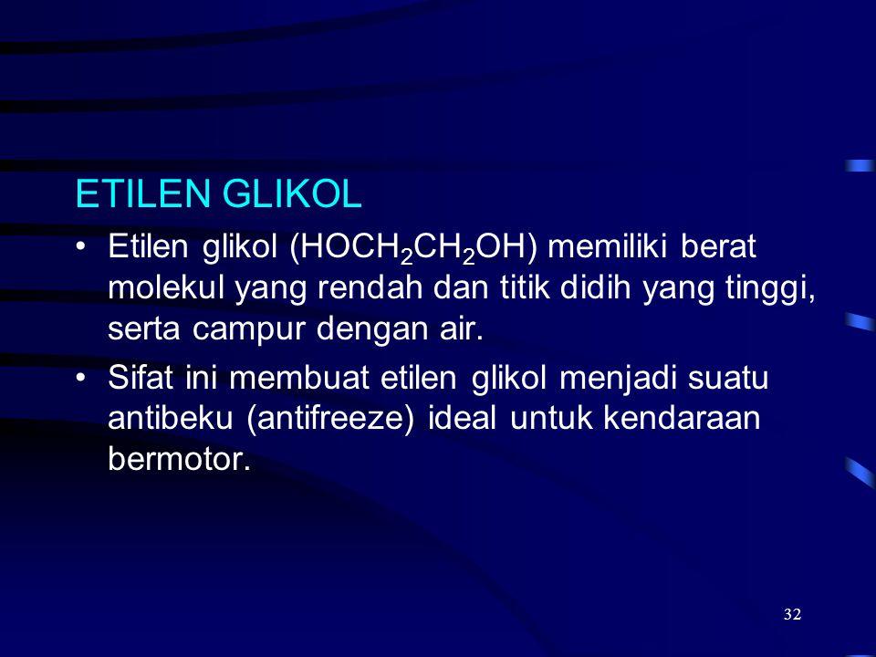 2017/4/6 ETILEN GLIKOL. Etilen glikol (HOCH2CH2OH) memiliki berat molekul yang rendah dan titik didih yang tinggi, serta campur dengan air.