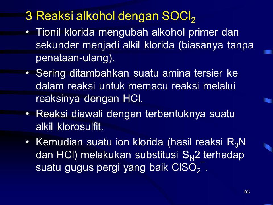 Reaksi alkohol dengan SOCl2
