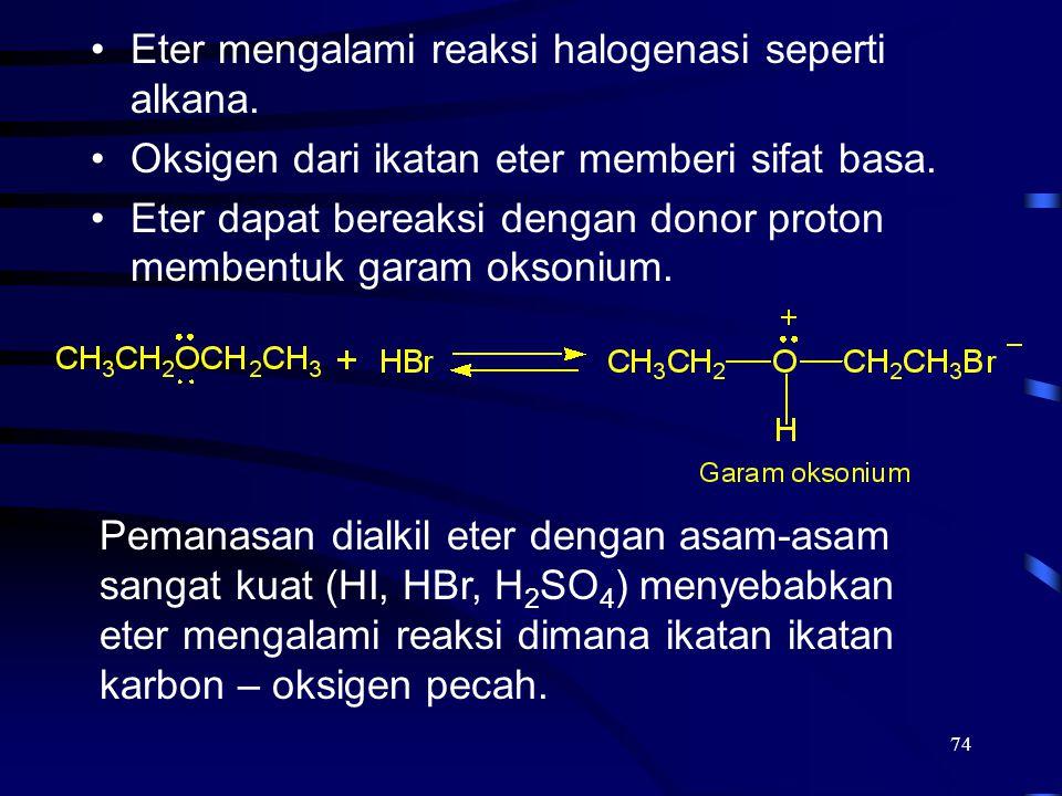 Eter mengalami reaksi halogenasi seperti alkana.