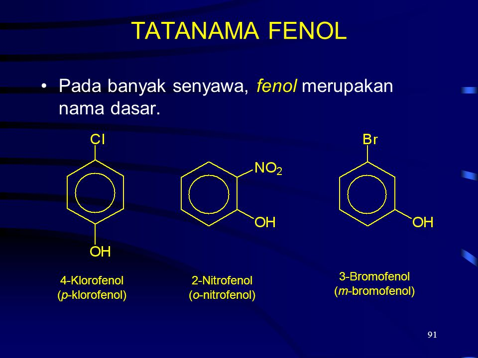 TATANAMA FENOL Pada banyak senyawa, fenol merupakan nama dasar.