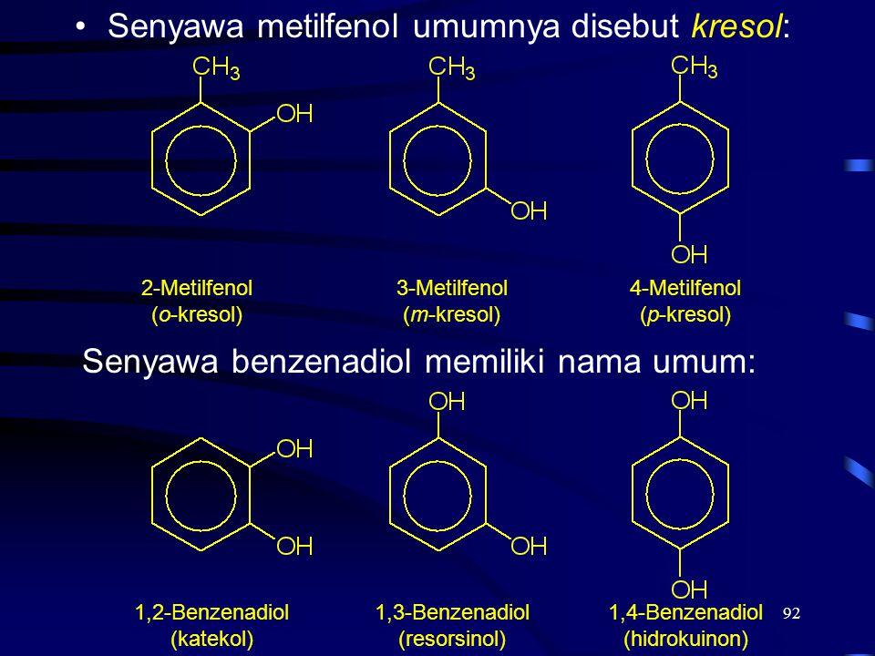 Senyawa metilfenol umumnya disebut kresol: