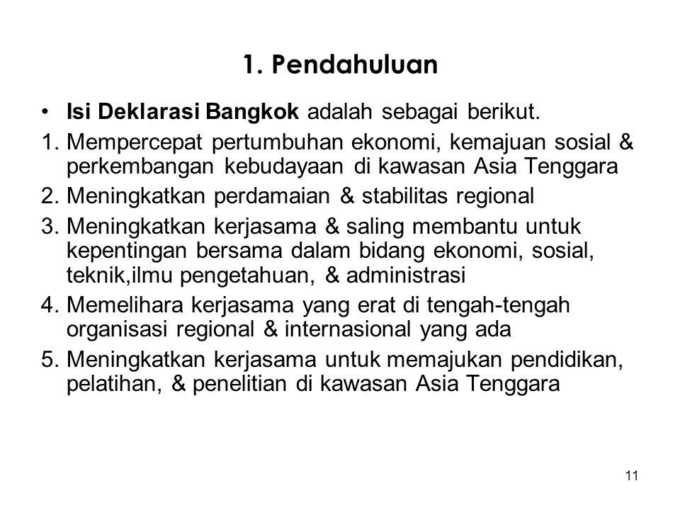 1. Pendahuluan Isi Deklarasi Bangkok adalah sebagai berikut.