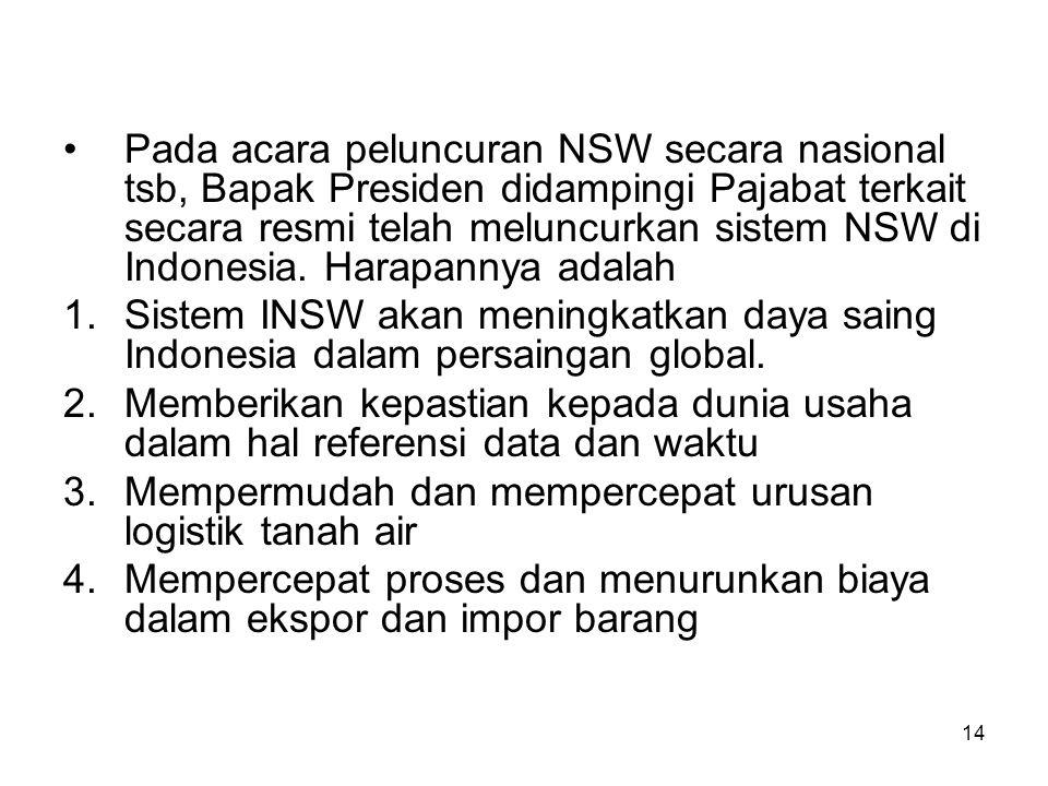 Pada acara peluncuran NSW secara nasional tsb, Bapak Presiden didampingi Pajabat terkait secara resmi telah meluncurkan sistem NSW di Indonesia. Harapannya adalah