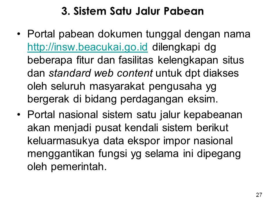 3. Sistem Satu Jalur Pabean