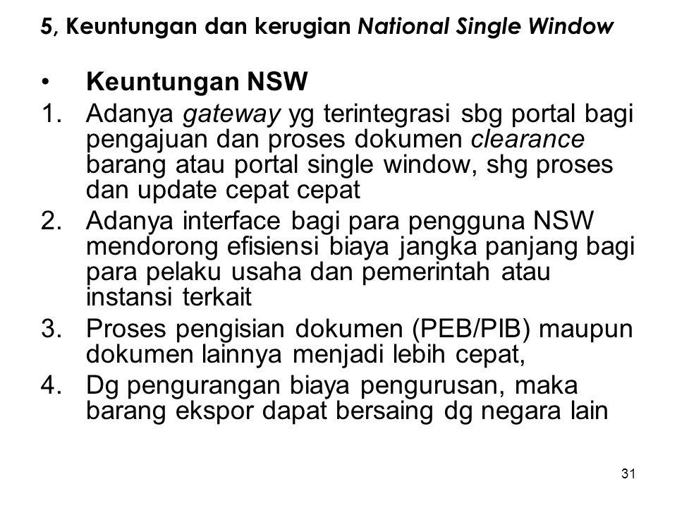 5, Keuntungan dan kerugian National Single Window