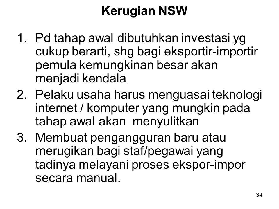 Kerugian NSW Pd tahap awal dibutuhkan investasi yg cukup berarti, shg bagi eksportir-importir pemula kemungkinan besar akan menjadi kendala.