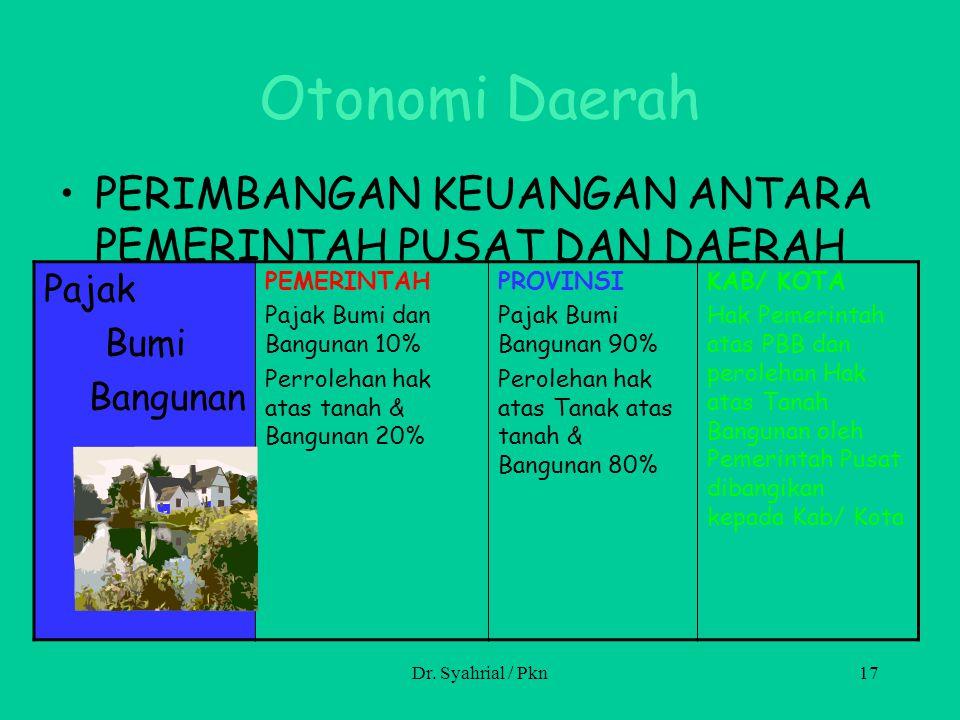 Otonomi Daerah PERIMBANGAN KEUANGAN ANTARA PEMERINTAH PUSAT DAN DAERAH