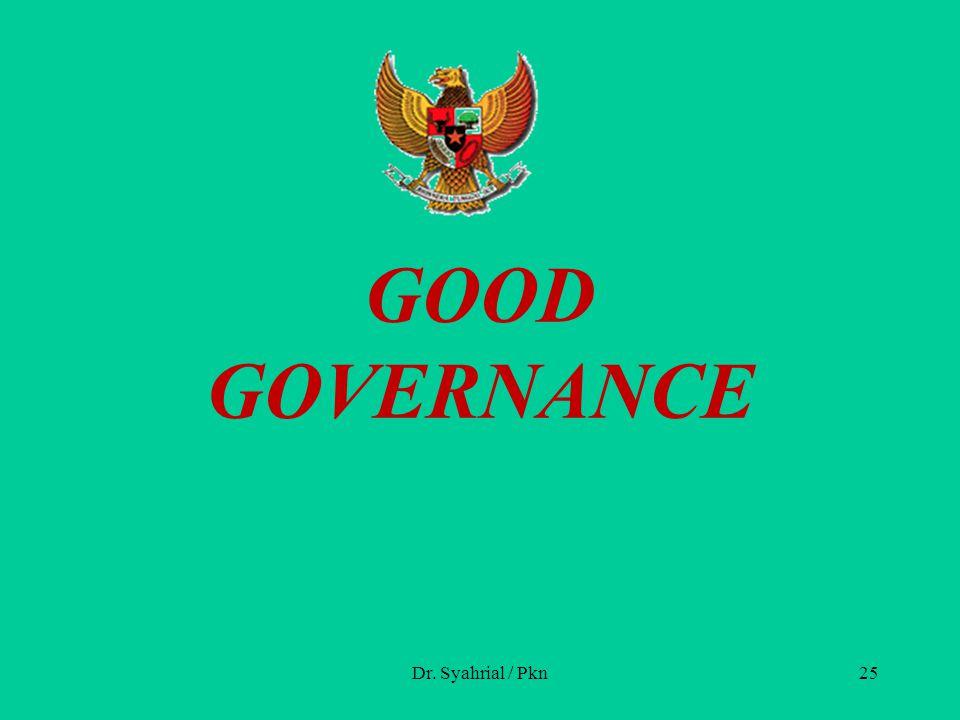 GOOD GOVERNANCE Dr. Syahrial / Pkn