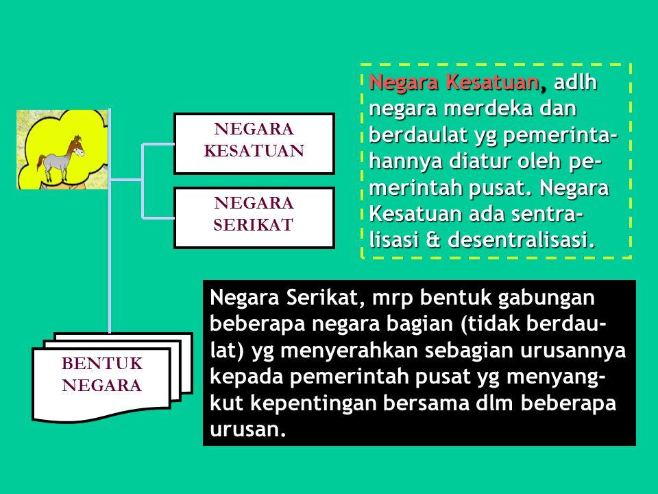 Negara Kesatuan, adlh negara merdeka dan berdaulat yg pemerinta-hannya diatur oleh pe-merintah pusat. Negara Kesatuan ada sentra-lisasi & desentralisasi.