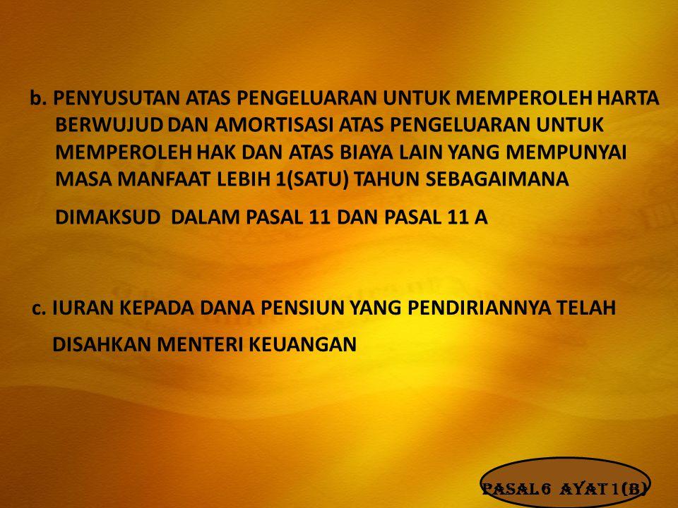 b. PENYUSUTAN ATAS PENGELUARAN UNTUK MEMPEROLEH HARTA BERWUJUD DAN AMORTISASI ATAS PENGELUARAN UNTUK MEMPEROLEH HAK DAN ATAS BIAYA LAIN YANG MEMPUNYAI MASA MANFAAT LEBIH 1(SATU) TAHUN SEBAGAIMANA DIMAKSUD DALAM PASAL 11 DAN PASAL 11 A