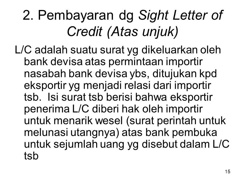 2. Pembayaran dg Sight Letter of Credit (Atas unjuk)