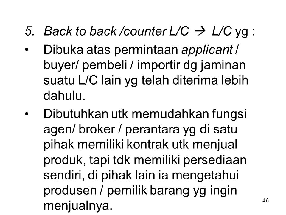 Back to back /counter L/C  L/C yg :