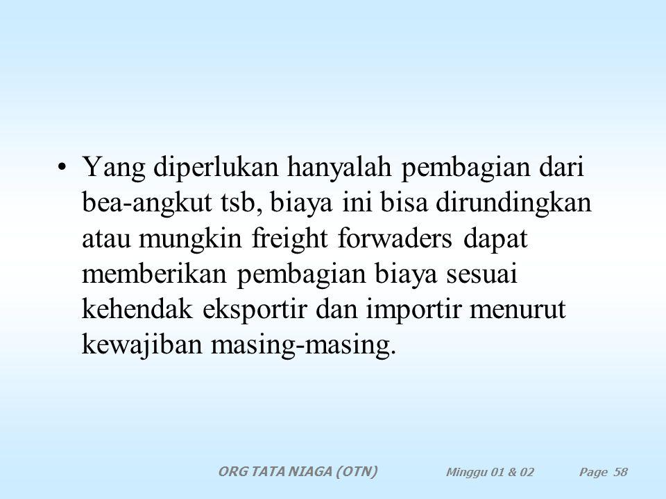 Yang diperlukan hanyalah pembagian dari bea-angkut tsb, biaya ini bisa dirundingkan atau mungkin freight forwaders dapat memberikan pembagian biaya sesuai kehendak eksportir dan importir menurut kewajiban masing-masing.