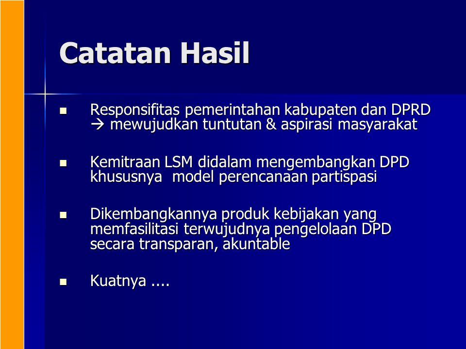 Catatan Hasil Responsifitas pemerintahan kabupaten dan DPRD  mewujudkan tuntutan & aspirasi masyarakat.
