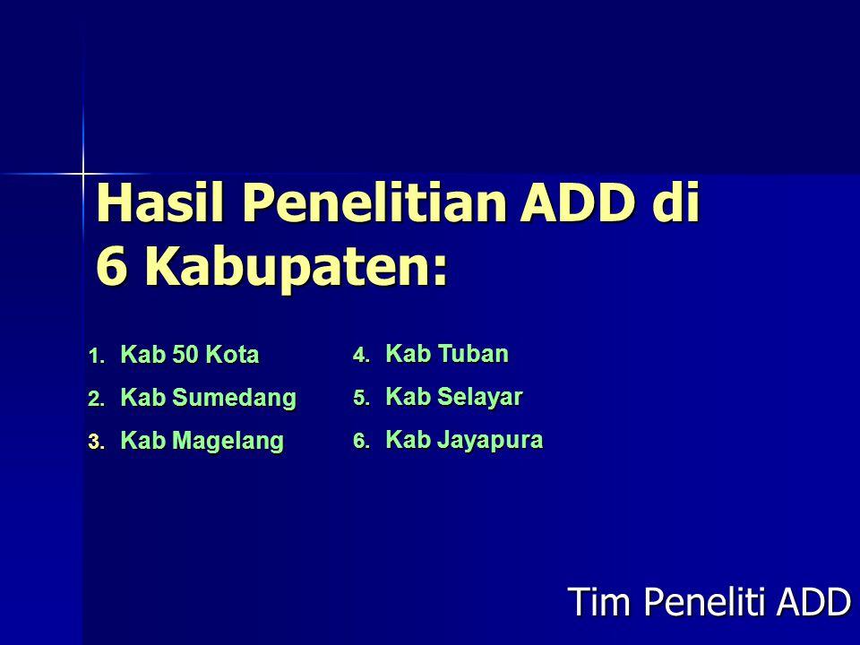Hasil Penelitian ADD di 6 Kabupaten: