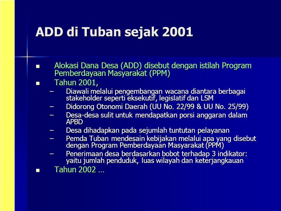ADD di Tuban sejak 2001 Alokasi Dana Desa (ADD) disebut dengan istilah Program Pemberdayaan Masyarakat (PPM)