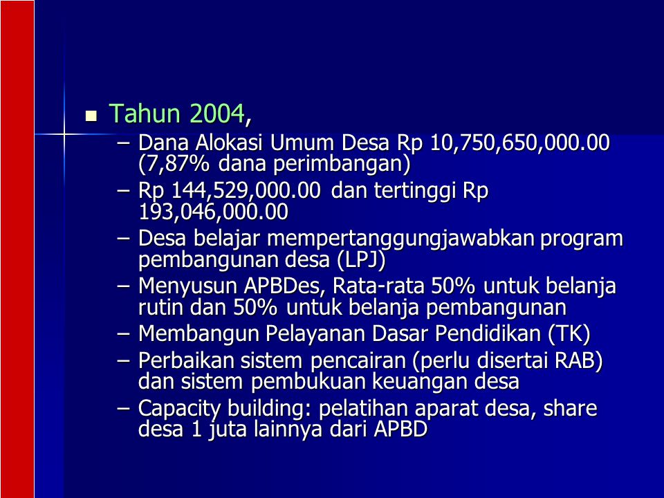Tahun 2004, Dana Alokasi Umum Desa Rp 10,750,650,000.00 (7,87% dana perimbangan) Rp 144,529,000.00 dan tertinggi Rp 193,046,000.00.