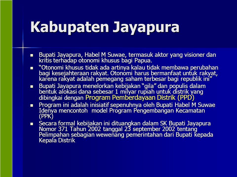 Kabupaten Jayapura Bupati Jayapura, Habel M Suwae, termasuk aktor yang visioner dan kritis terhadap otonomi khusus bagi Papua.